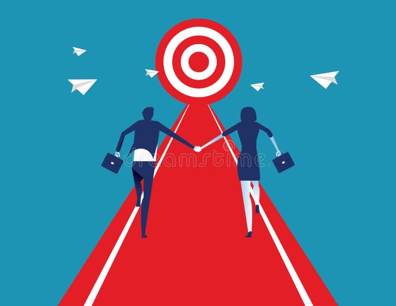 企业队人握手和赛跑对成功目标 r 向量例证