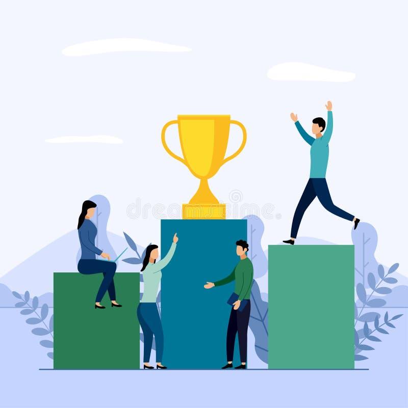 企业队和竞争,成就,成功,挑战 库存例证