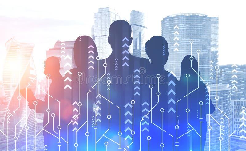 企业队在城市,成长接口 库存例证