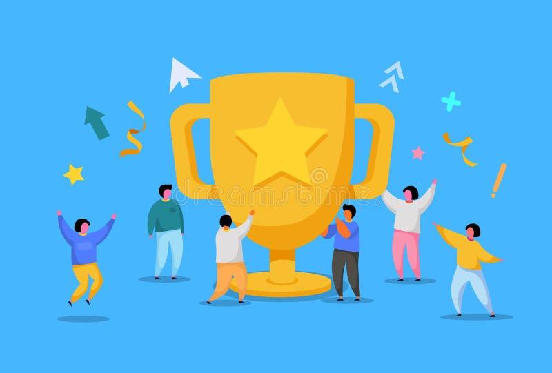 企业队成功,成就概念 与奖,奖杯的平的人字符 办公室工作者庆祝 库存例证