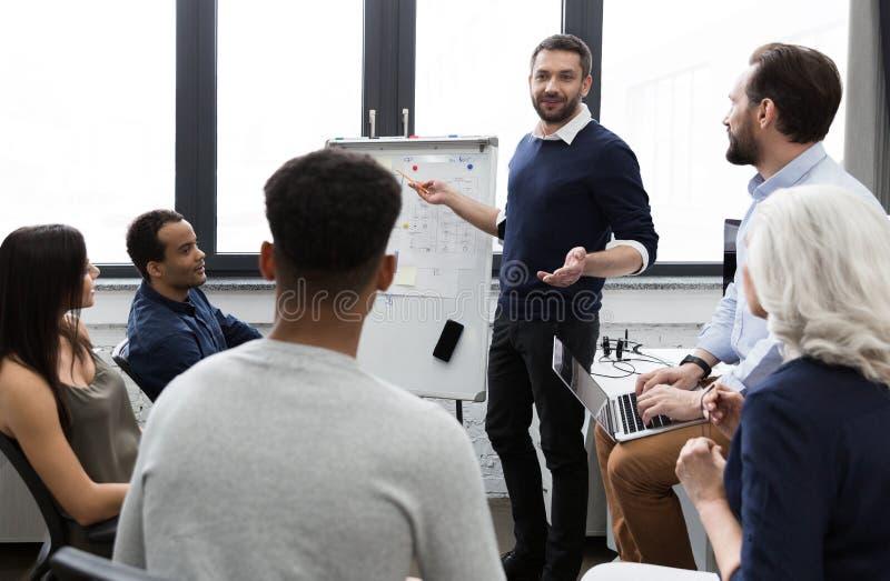 企业队谈论他们的想法,当工作在办公室时 免版税库存照片
