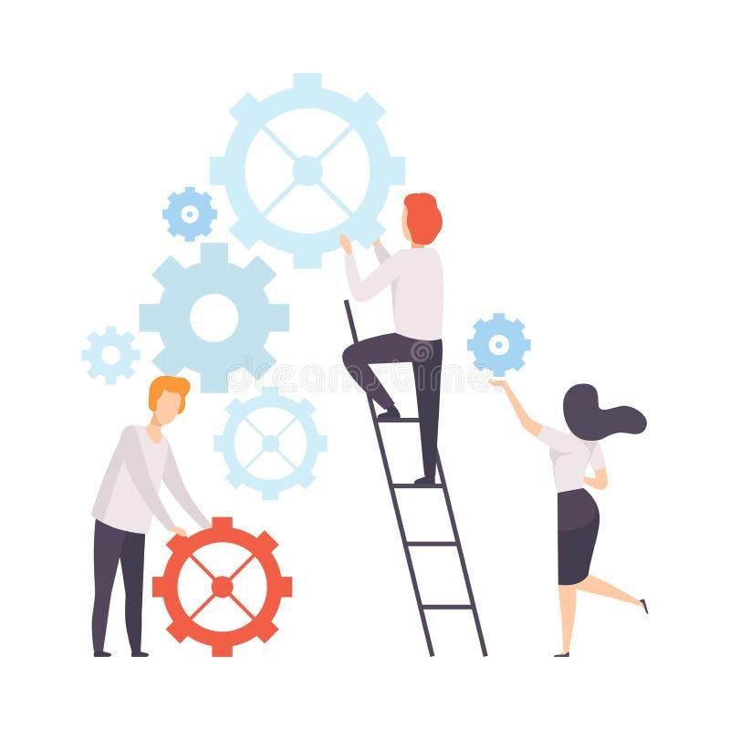 企业队,修建机制,人们的办公室同事在公司,配合,合作中 向量例证