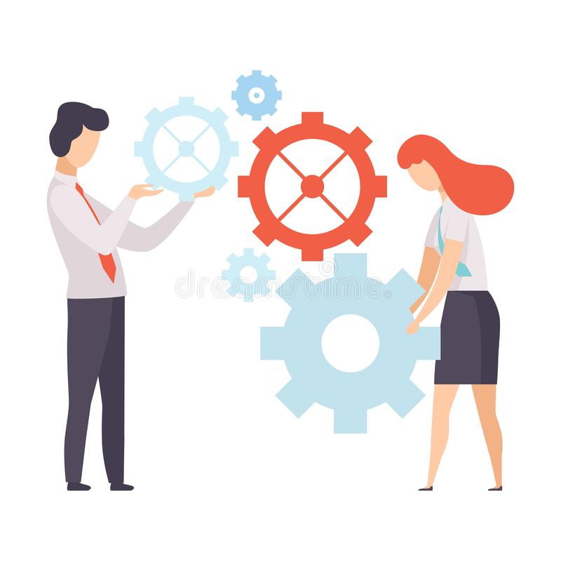 企业队,办公室同事与机制一起使用,在公司,配合,合作中的人们 库存例证
