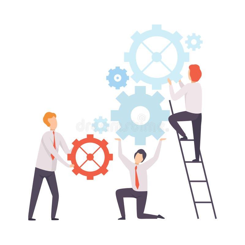 企业队,发射机制,人们的办公室同事在公司,配合,合作中 向量例证