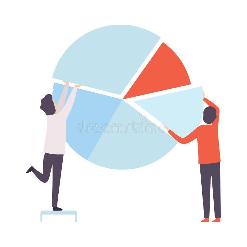 企业队,建立圆形统计图表,人们的办公室同事在公司,配合,合作中 库存例证