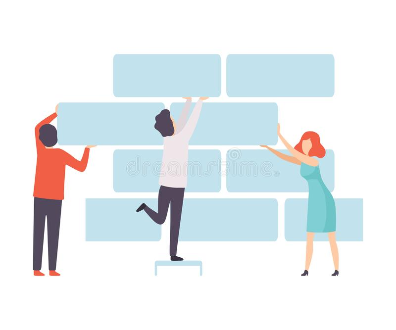 企业队,支持砖墙,人们的办公室同事在公司,配合,合作中 向量例证