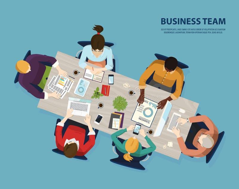 企业队,遇见顶视图的人们会议  库存例证