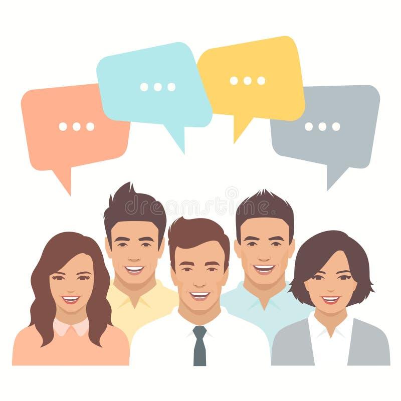 企业队,闲谈对话 向量例证