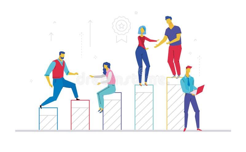 企业队-平的设计样式五颜六色的例证 向量例证