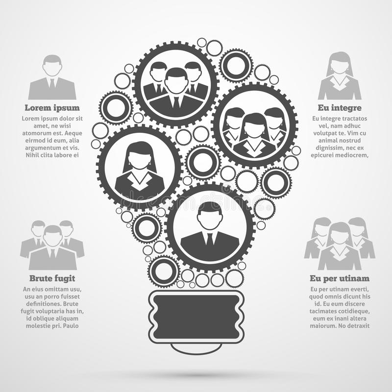企业队infographic构成的电灯泡 皇族释放例证