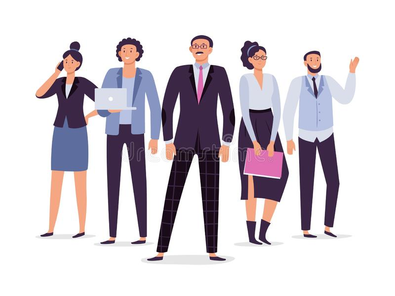 企业雇员合作 配合领导、成功行政雇员和办公室人小组传染媒介例证 皇族释放例证