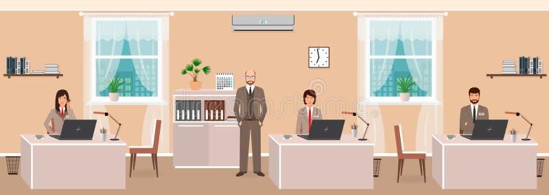 企业雇员和上司现实字符在办公室屋子内部里在工作日开始 配合概念 皇族释放例证