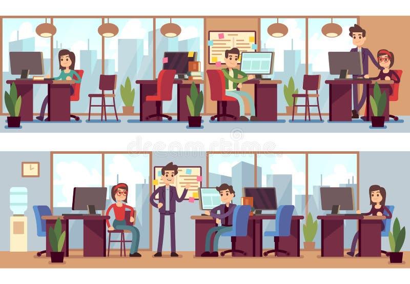 企业雇员,现代办公室内部传染媒介例证的工友 向量例证