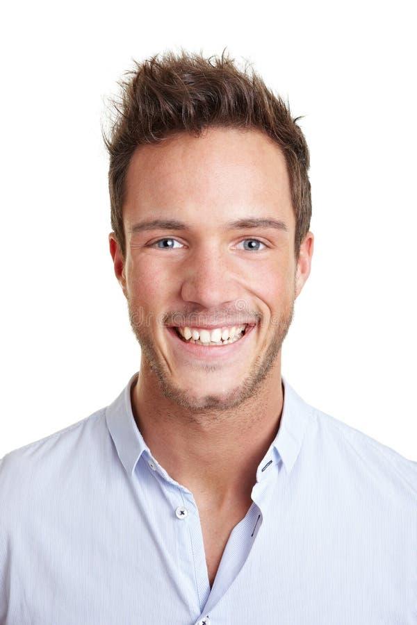 企业顶头人被射击的微笑 库存图片