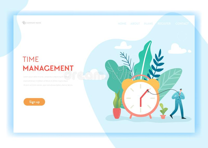 企业项目时间管理和工艺过程最佳化着陆页模板 计划和战略概念 库存例证