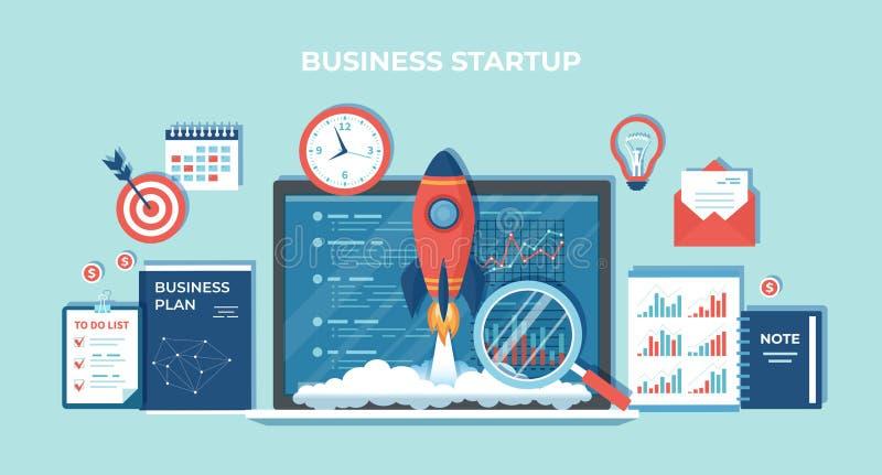 企业项目起动、财政规划、想法、战略、管理、认识和成功 从膝上型计算机的火箭队发射 库存例证