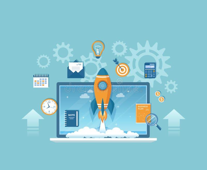 企业项目起动、财政规划、想法、战略、管理、认识和成功 从膝上型计算机的火箭队发射 向量例证