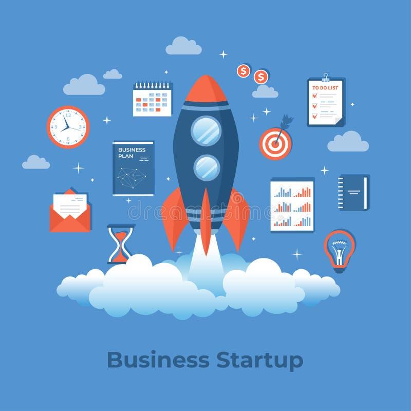 企业项目起动、财政规划、想法、战略管理认识和成功 与文件的火箭队发射 向量例证