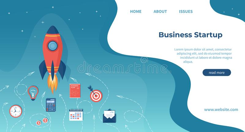 企业项目起动、财政规划、想法发展过程、战略、管理、认识和成功 E 库存例证