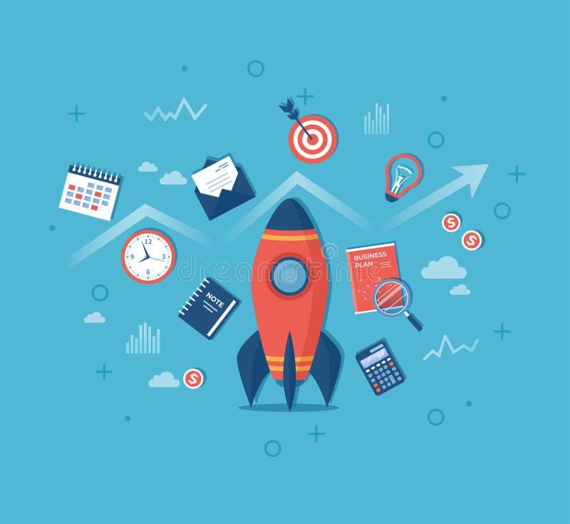 企业项目起动财政规划想法战略管理认识成功 与经营计划的火箭队发射 向量例证