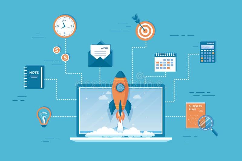 企业项目起动财政规划想法战略管理认识成功 从膝上型计算机的火箭队发射 皇族释放例证