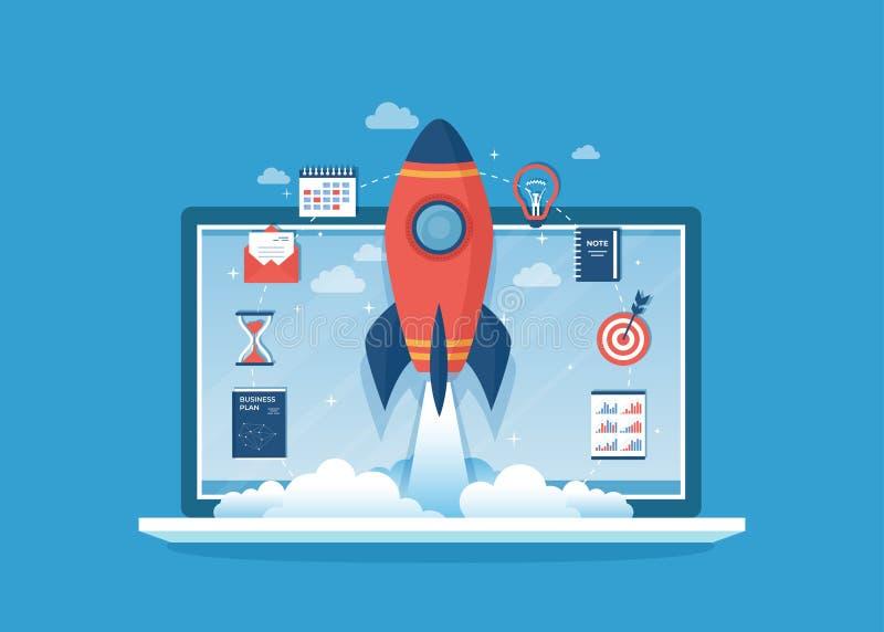 企业项目起动,财政规划,想法战略管理认识成功 在膝上型计算机屏幕上的火箭队发射 皇族释放例证