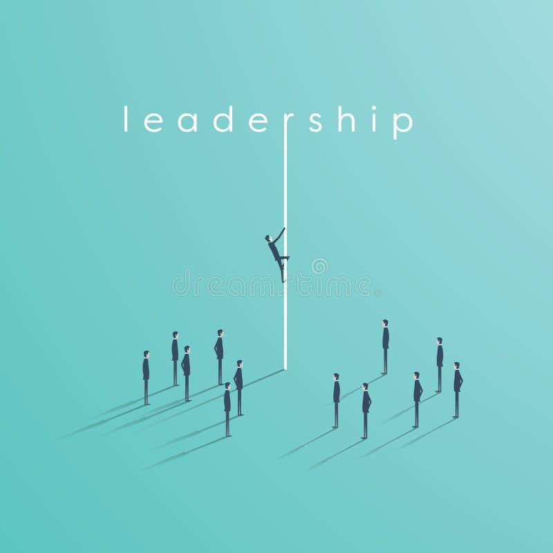 企业领导与上升在队前面的一条绳索的商人的传染媒介概念 皇族释放例证