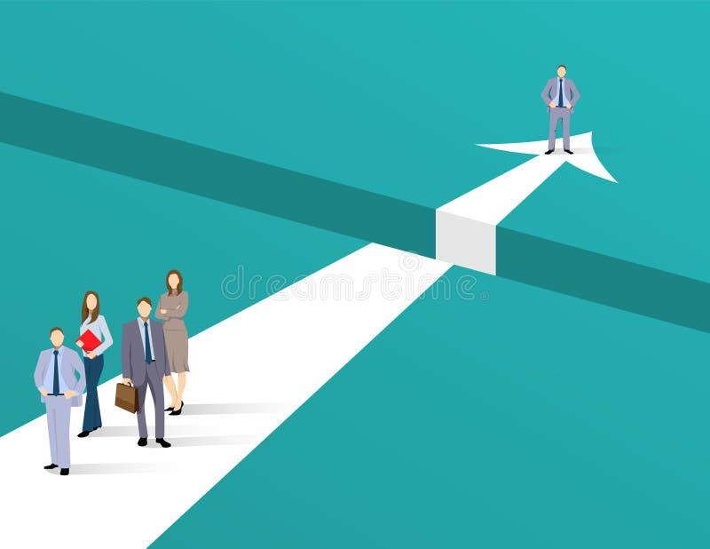 企业领导和有远见者导航与看与望远镜的商人的conept 企业挑战,未来标志 向量例证