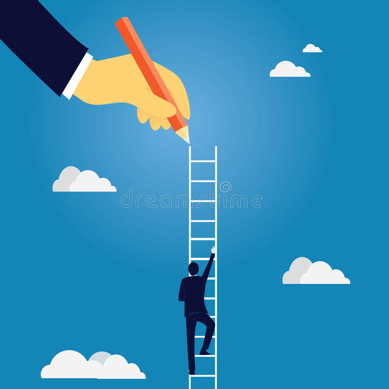 企业领导概念 商人带领爬高梯子 库存例证