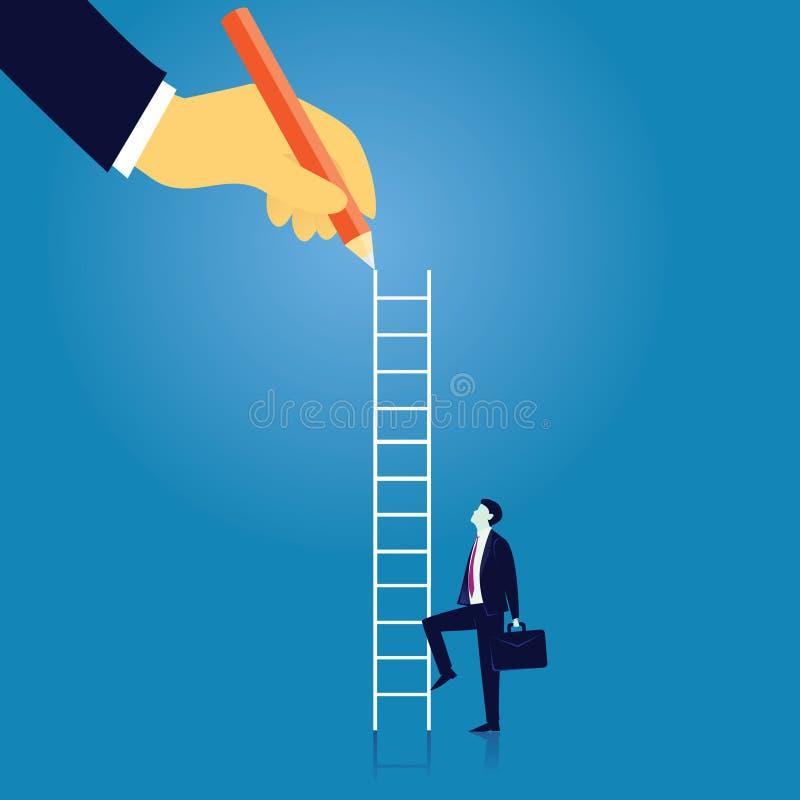 企业领导概念 商人带领爬高梯子 向量例证