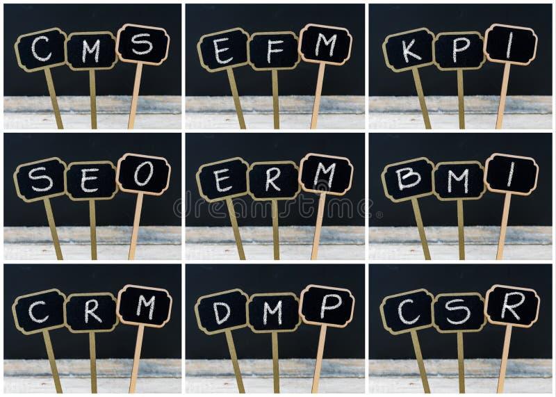企业首字母缩略词照片拼贴画写与白垩在木微型黑板标签 库存例证