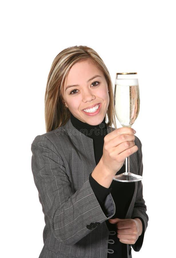 企业香槟妇女 图库摄影