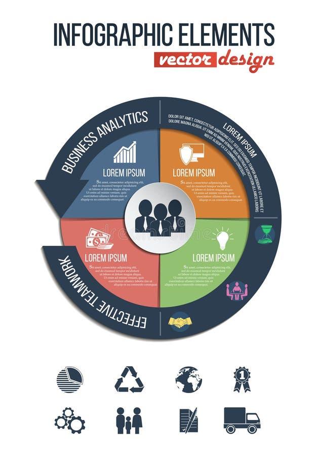 企业&财务infographics设置了与在圆形统计图表传染媒介例证的联合象 向量例证