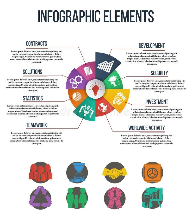 企业&财务infographics设置了与在圆形统计图表例证的联合象 向量例证