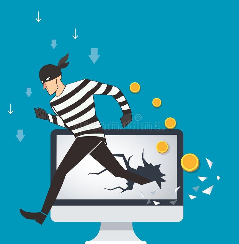 企业黑客二进制数据和网络安全期限的概念例证 皇族释放例证