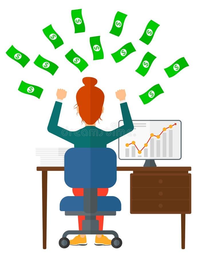 企业货币成功的妇女 向量例证