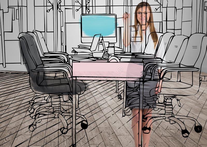 企业年轻愉快的妇女绘图室排行到新的办公室在是的屋子里 C 向量例证