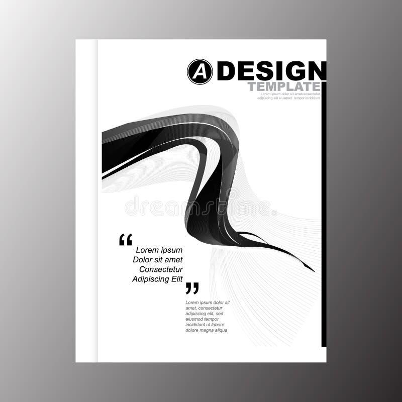 企业年终报告书套小册子飞行物海报的最小的简单的黑条纹颜色波浪设计模板背景 库存例证