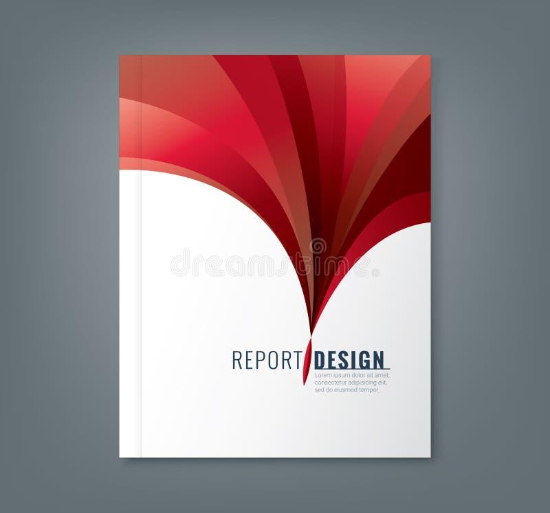 企业年终报告书套的抽象红色波浪背景 库存例证