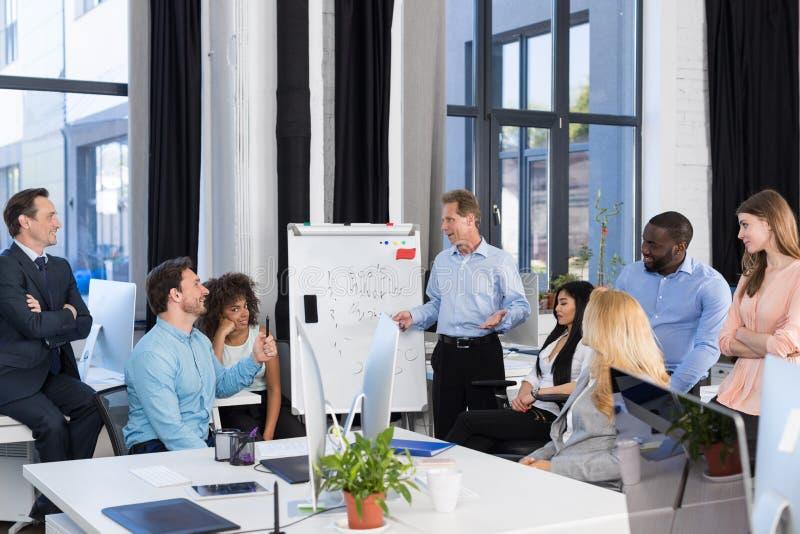 企业介绍,对买卖人小组在会议室里,队激发灵感的商人主导的会议,谈论 免版税库存照片