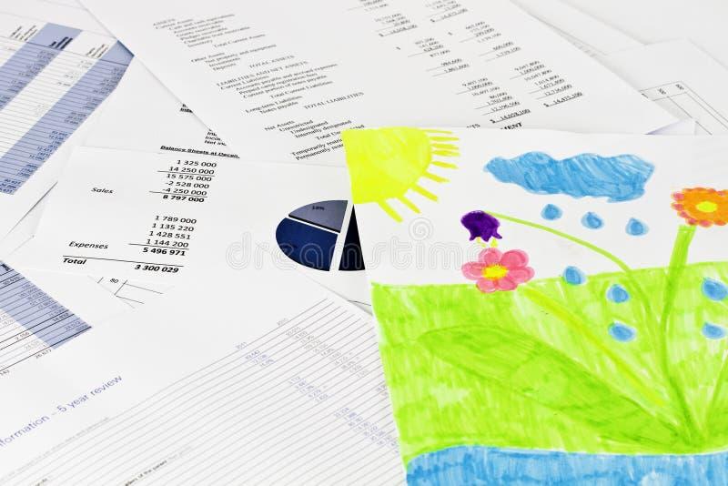 企业analise和儿童图画 免版税库存照片