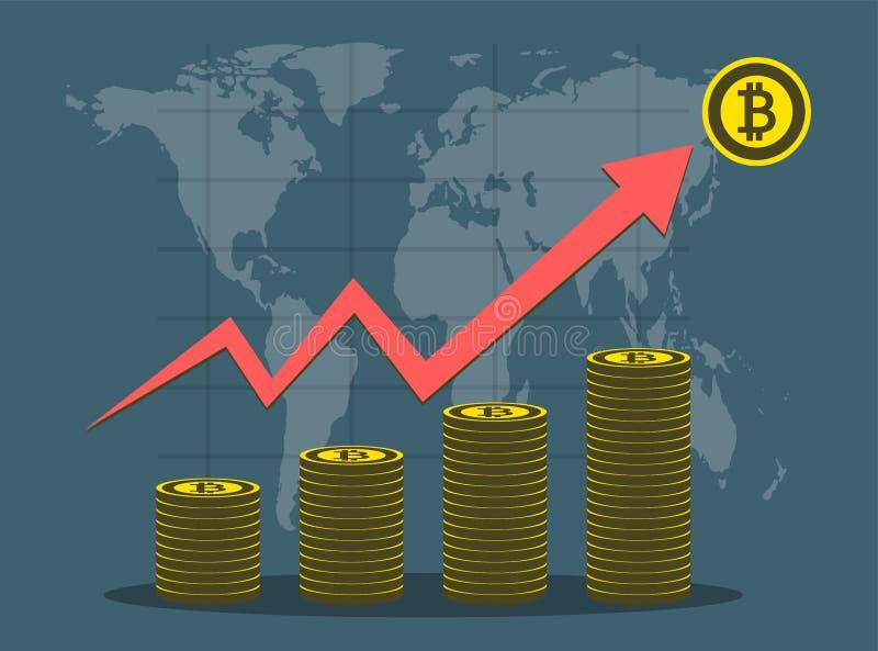 企业Bitcoin概念在背景地图世界的成长曲线图 以图例解释者 皇族释放例证