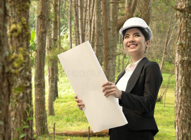 企业eco拿着结构图的工程师手 库存照片