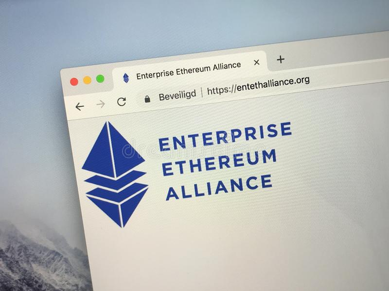 企业Ethereum联盟或EEA的主页 库存照片