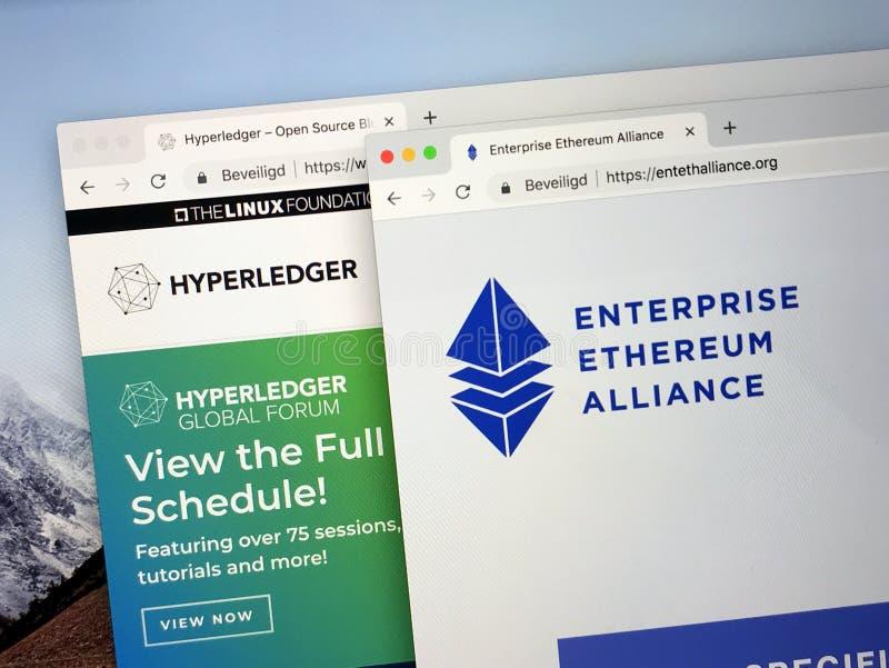 企业Ethereum联盟的主页或EEA和Hyperledger 库存照片