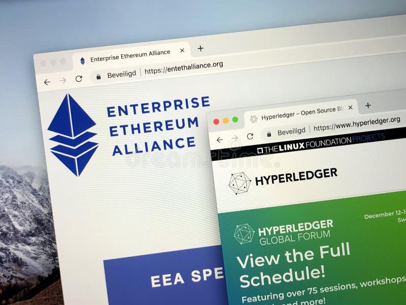 企业Ethereum联盟的网站或EEA和Hyperledger 免版税库存照片