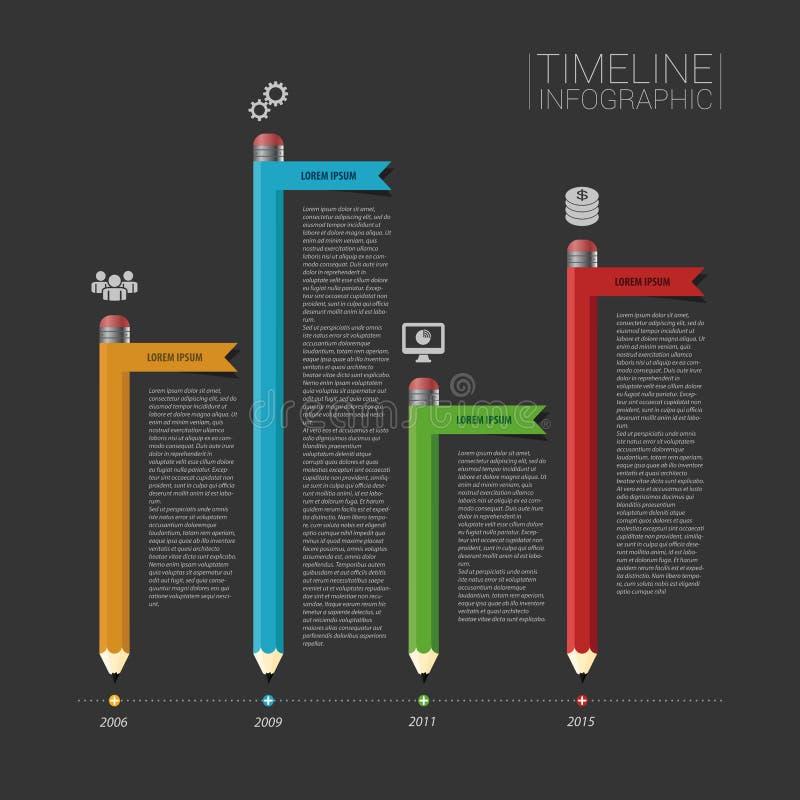 企业Infographic与横幅和象的时间安排模板 向量例证