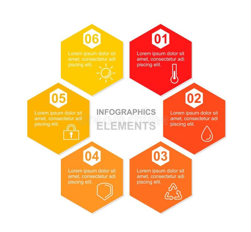 企业infographic形象化的传染媒介例证 工艺卡片 与象和地方的六角形五颜六色的元素 库存例证