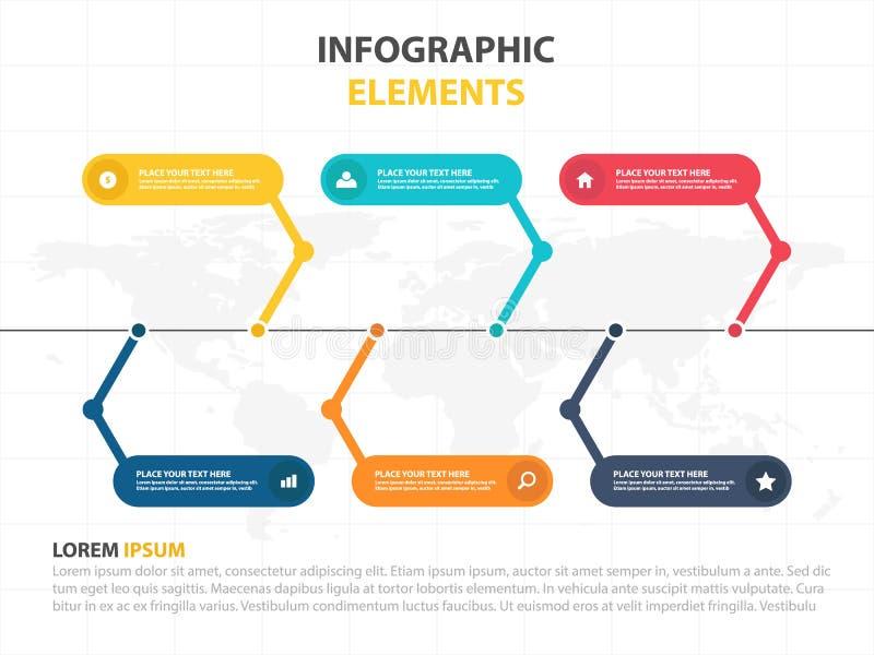 企业Infographic时间安排过程模板,介绍的,工作流的介绍五颜六色的横幅正文框desgin 向量例证