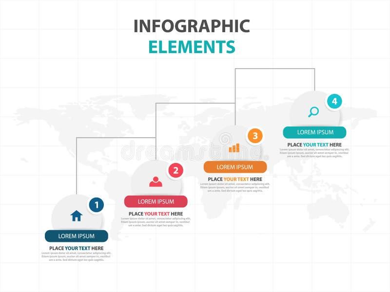 企业Infographic时间安排过程模板,介绍的,工作流的介绍五颜六色的横幅正文框desgin 库存例证